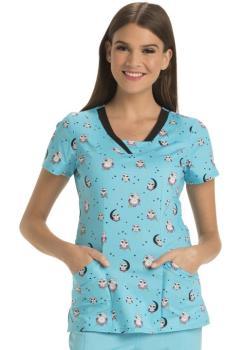 HeartSoul Women's V-Neck Print Scrub Top (HE-HS600)